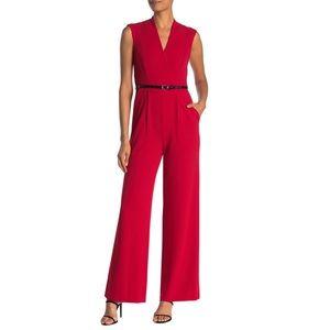 Calvin Klein Red Jumpsuit Wide Leg Dressy Belted